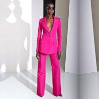 2019 новые модные весенние фуксия строгие брюки костюмы для свадеб Для женщин комплекты Бизнес костюмы женские брюки костюмы Женская одежда