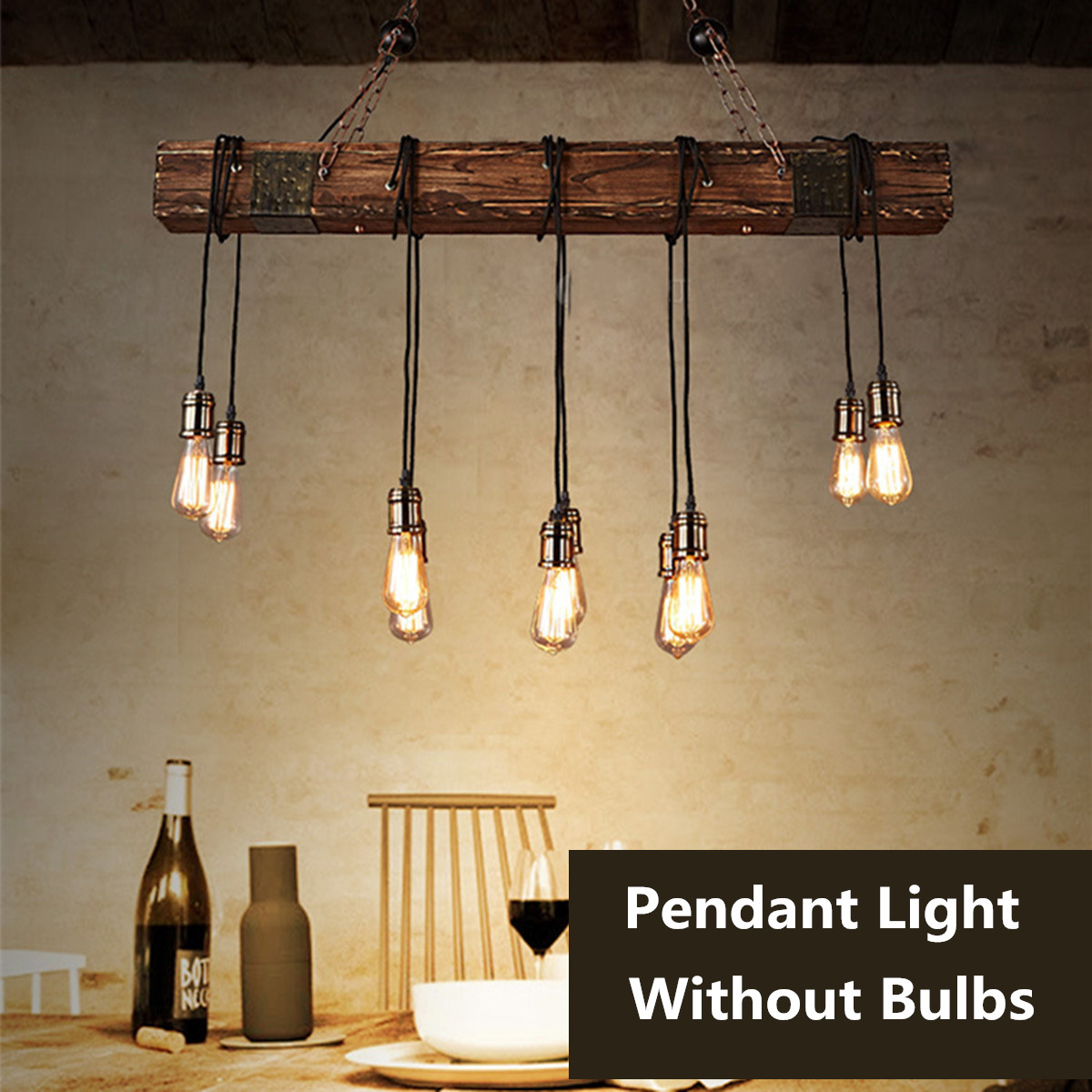 Antique Farmhouse Wood Beam Island Hanging Pendant Lights with 10 Edison Bulb Home Kitchen Restaurant Decorations
