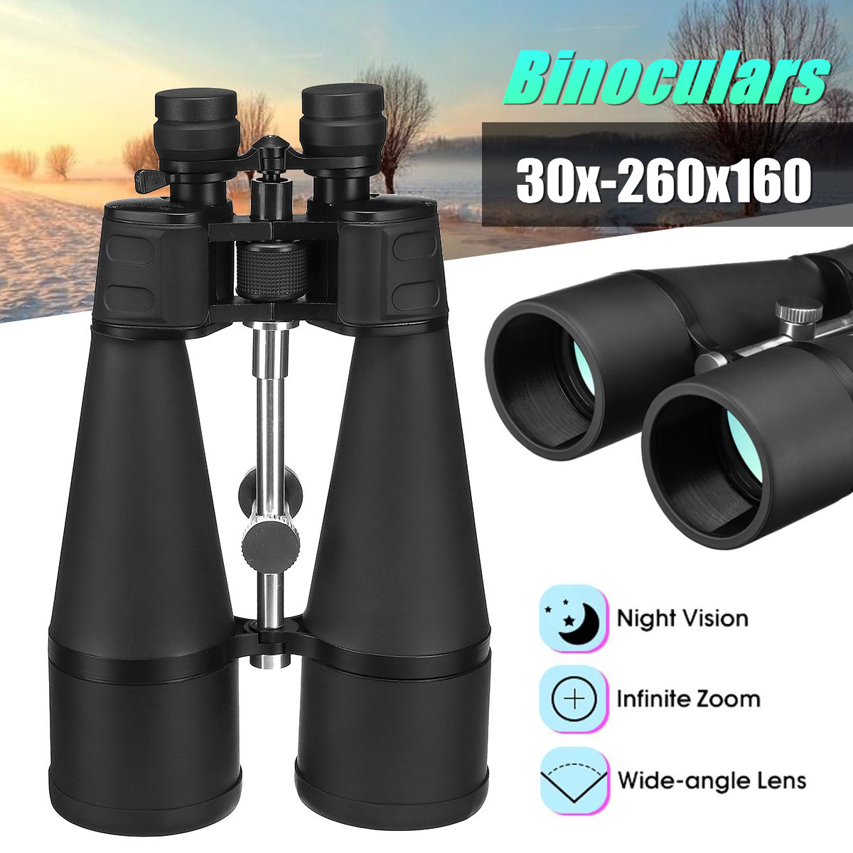 Optical Green Lens Binoculars 30x-260x160 High Magnification Long Range Zoom Objective Diameter 160mm+lens Cloth doumoo 330 330 mm long focal length 2000 mm fresnel lens for solar energy collection plastic optical fresnel lens pmma material