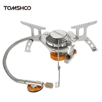 Outdoor Camping Stove Kit Ultralight Compact Foldable Gas Stove with 9 Plate Camp Stove Windscreen Windshield Cartridge Adapter