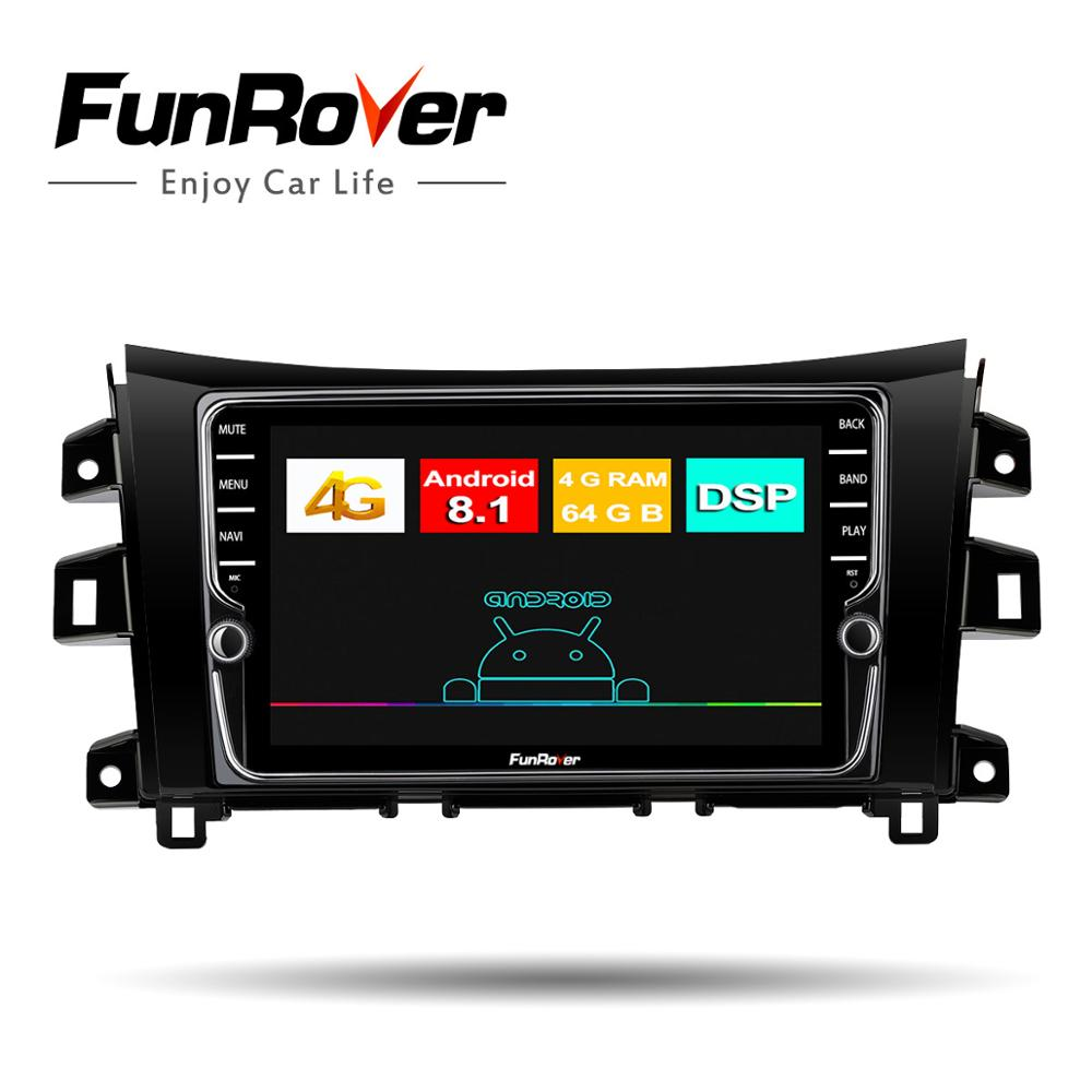 Funrover  IPS android 8.1 4G+64G RAM Car Radio for Nissan NAVARA NP300 2014-2017  8 Core car Multimedia 2 din dvd dsp rds bt