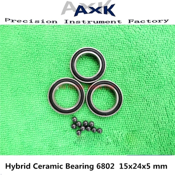 2019 New 6802 Hybrid Ceramic Bearing 15x24x5 Mm Abec-3 ( 1 Pc ) Bicycle Bottom Brackets & Spares 6802rs Si3n4 Ball Bearings image