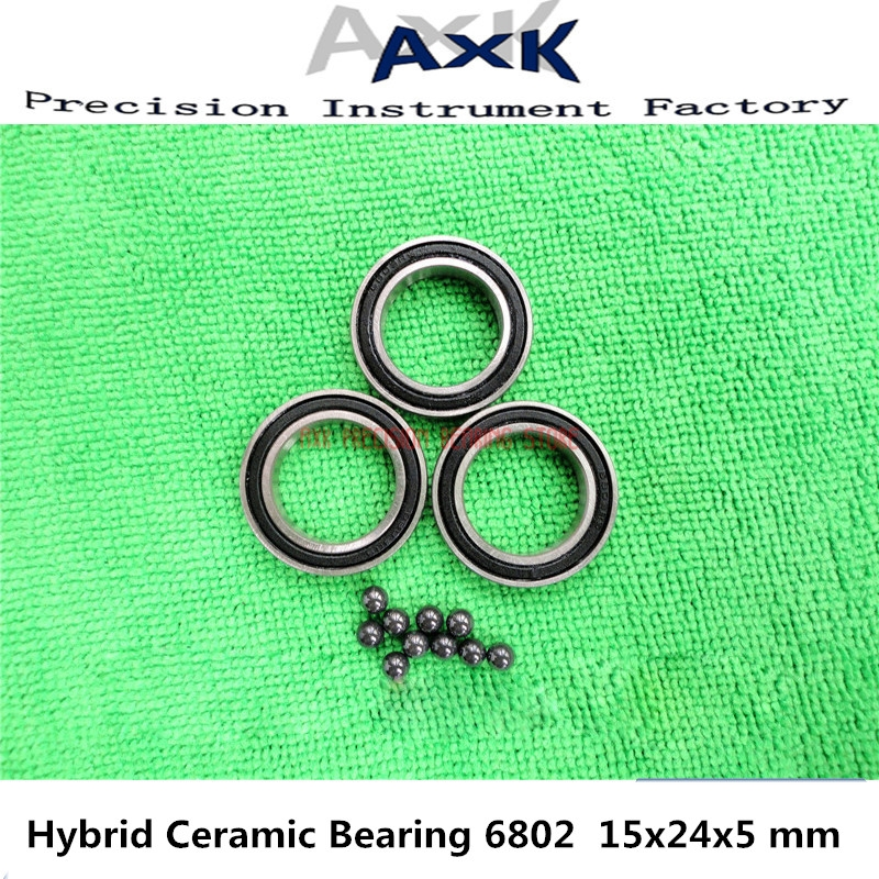 2019 New 6802 Hybrid Ceramic <font><b>Bearing</b></font> 15x24x5 Mm Abec-3 ( 1 Pc ) Bicycle Bottom Brackets & Spares <font><b>6802rs</b></font> Si3n4 Ball <font><b>Bearings</b></font> image