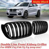 For BMW F25 F26 X3 X4 2014 2015 2016 2017 1 Pair ABS Matt Black 2 Line Slat Front Kidney Grill Racing Grill Replacement