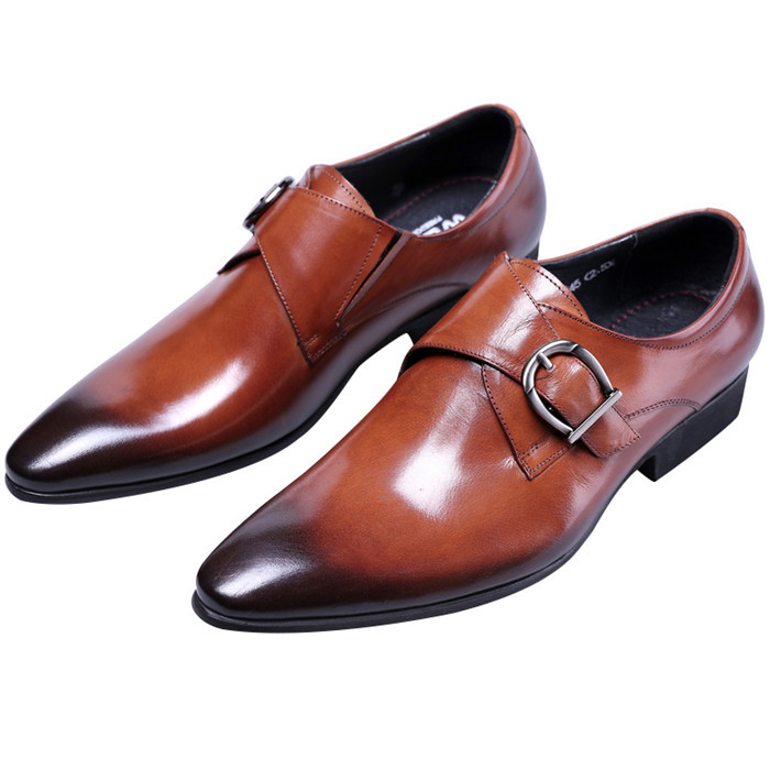 Avec brun Cuir brown Mariage Noir Boucle De Tan Hommes Mode En brown Black Travail Homme D'affaires Robe Véritable brun Chaussures Zp7Hqw