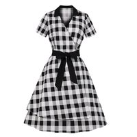 Women Summer Plaid Dress Elegant Office Wear Casual Korean Fashion Vintage A Line Lace Up Slim Girl Gothic Street Retro Dresses