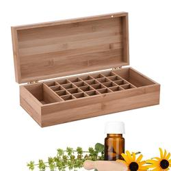 1pc Bamboo Essential Oil Box With 26 Grids DIY Protective Wooden Storage Case For Artistic Ornament Decorative Gift