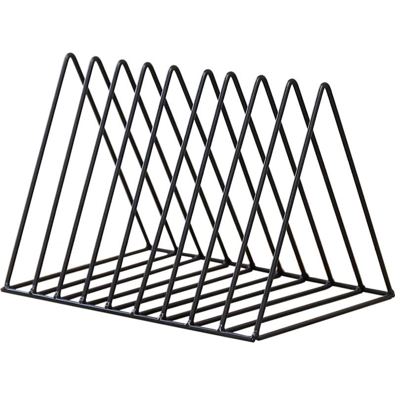 Bookshelf Iron Geometry Newspapers And Magazines Storage Rack Home Decor Shelf - Black