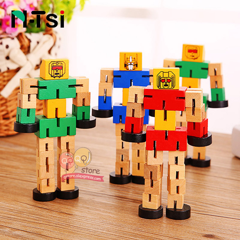 Open-Minded N-tsi Wooden Robot Transfigure Transformer Figure Puzzle Car Boys Creative Educational Fun Toys For Children Kids Christmas Gift Meticulous Dyeing Processes Puzzles & Games Toys & Hobbies