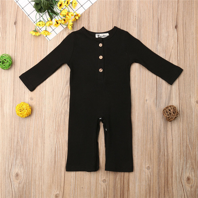 Newborn Full Sleeve Romper Solid Long Pant Jumpsuits Spring Outwear Cotton Outfits Baby girl Boy Clothes 2