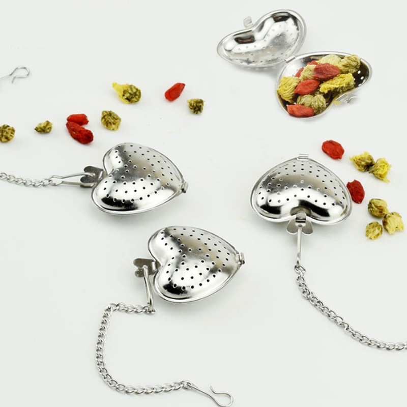 Strainer 304 Stainless Steel Portable Filter Bag Ball Tea Infuser For Tea Brewing Heart Shaped Chain 1 PC