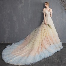 Vivians Bridal 2019 Fairy Color Gradient Design Ball Gown Wedding Dress Romantic Fancy Tiere Ruched Sweetheart