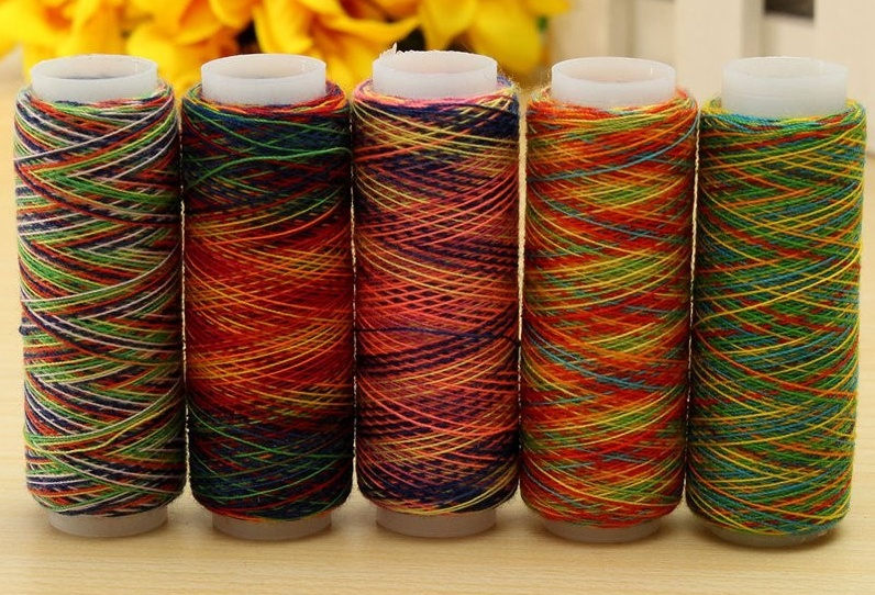 5pcs Rainbow Color Sewing Thread Hand Quilting Embroidery Sewing Thread Home
