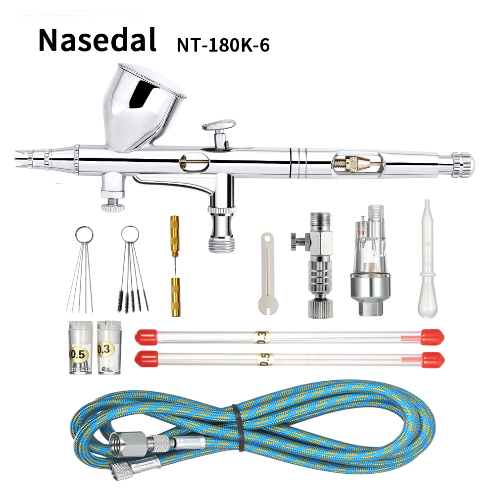 Nasedal 9cc Dual-action Airbrush Gun Paint Spray Gun Nail Air Brush Makeup  0 2mm/0 3mm/0 5mm Nozzle Needle Cleaning Tool Hose