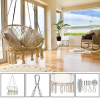 Round Hammock Swing Hanging Chair Outdoor Indoor Furniture Hammock Chair for Garden Dormitory Child Adult with Tools