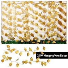 f309829b61b9 1 piezas 250 cm seda De Oro vid hiedra Artificial flores follaje flores  guirnalda de hojas de la planta para la fiesta de la bod.