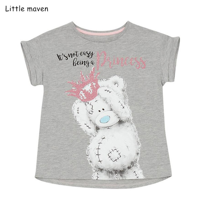 01d4bbc12478c US $7.11 40% OFF|Little maven children clothes 2019 summer baby girls  clothes short sleeve tee tops letter bear print Cotton brand t shirt  51339-in ...
