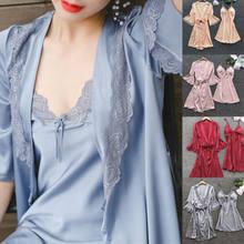 3ad0aad47d 3 piezas Sexy señoras de la ropa interior de seda de las mujeres traje de encaje  vestido Tanga blusa Babydoll camisón ropa de do.