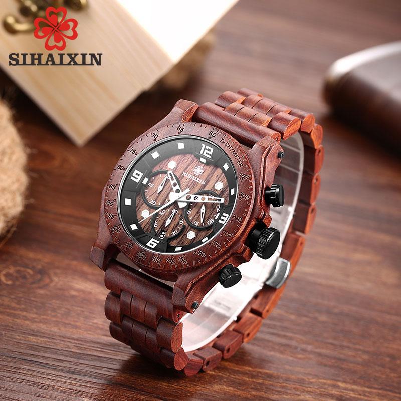 SIHAIXIN montre en bois mâle Relogio Masculino luxe élégant chronographe militaire Quartz étanche entreprise horloge hommes semaine Date - 4