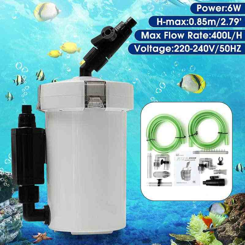 HW-602B Fish Tank Outer Filtration System 220-240V 6W 400l/h Aquarium Fish Tank External Ultra-quiet Canister Filter Table Top