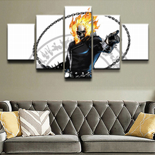 Unique Gift Wall Picture Home Decor Boys Room Canvas Poster Art HD Print Pictures 5 Pieces Comics Ghost Rider Paintings