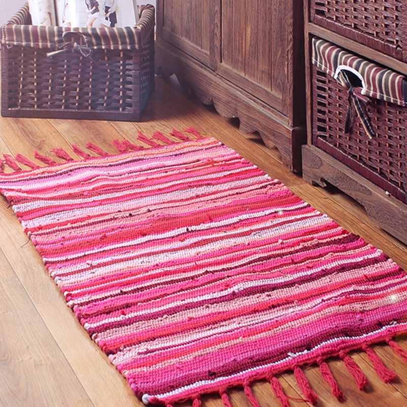 Alfombra de algodón de 100% sólida Retro Para sala de estar alfombra India geométrica alfombra moderna a rayas diseño contemporáneo Estilo nórdico