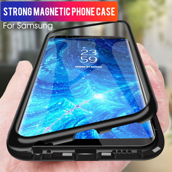 GVU Metal Magnetic Case On For Samsung Galaxy S8 S9 S10 Plus Tempered Glass For Samsung Note8 Note9 S10E Back Magnet Cases Cover