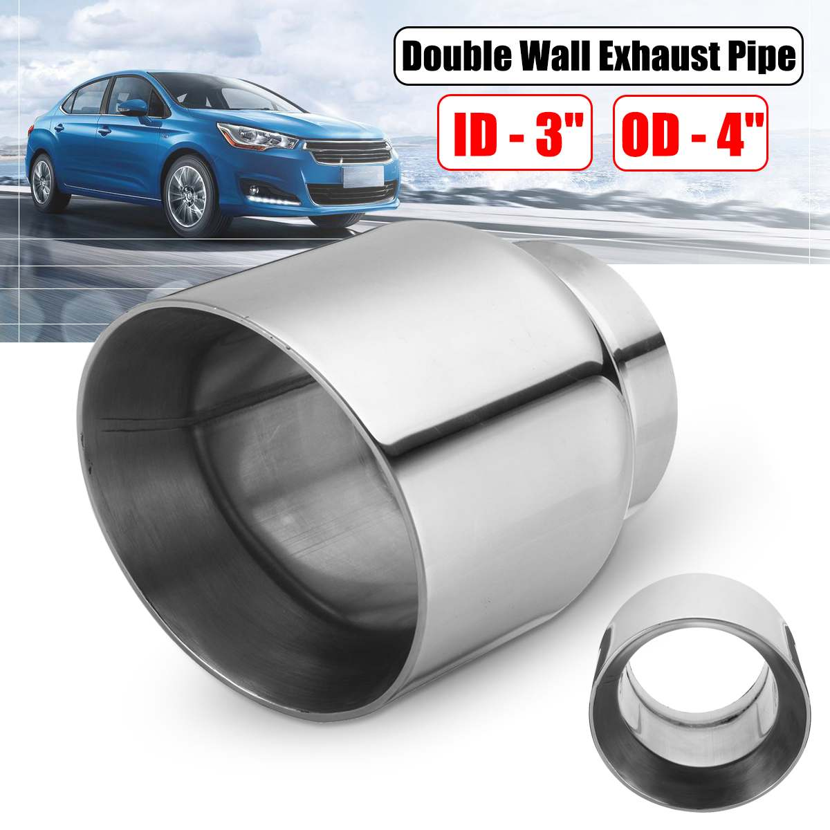 Universal Car Exhaust Tip 3 Inlet 4 Outlet Auto Tail Pipe Muffler Dual Wall Angle Cut Outlet NozzleUniversal Car Exhaust Tip 3 Inlet 4 Outlet Auto Tail Pipe Muffler Dual Wall Angle Cut Outlet Nozzle