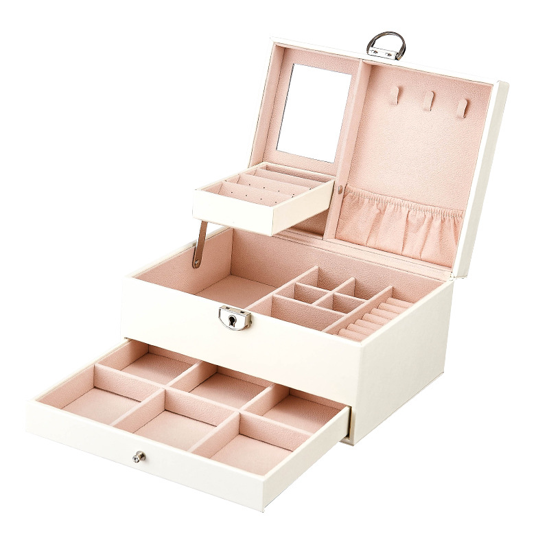 Fashion Design Leather Jewelry Box Case Package Storage Large Space Jewelry Ring Necklace Bracelet Hot Selling