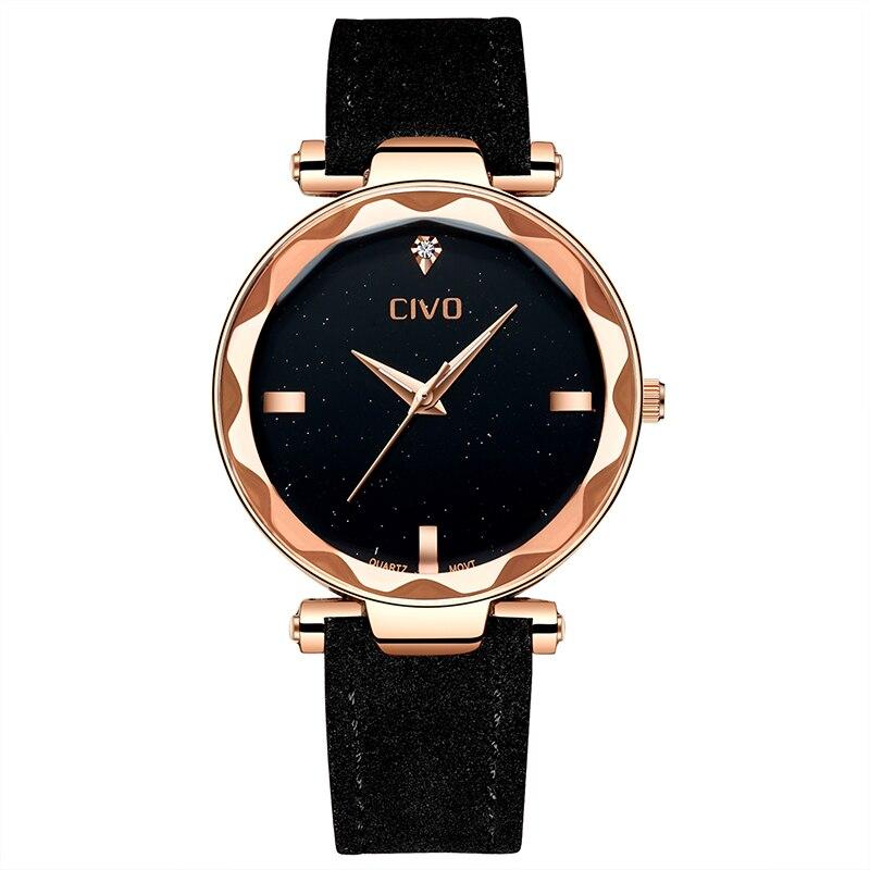 CIVO Top Brand Simple Women Watches Elegant Rose Gold Wrist Watch Waterproof Genuine Leather Quartz Watches Reloj Mujer