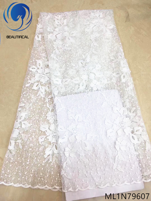 BEAUTIFICAL white lace fabric mesh lace fabric wholesale high quality lace fabric fashion 5yards/lot for wedding dresses ML1N796
