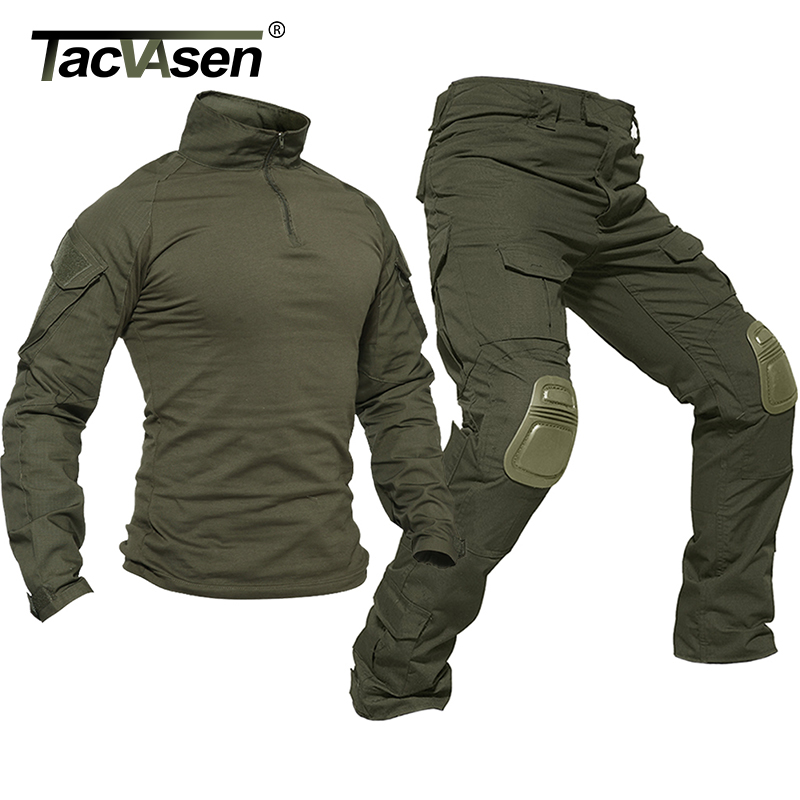 TACVASEN Tactical Uniforms Men Rip-stop Camouflage Military Clothing Sets Airsoft Paintball Combat Security Suits Hunt Clothes(China)