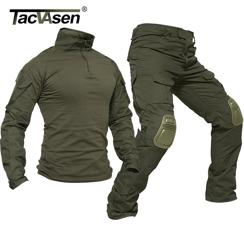 Тактическая Униформа TACVASEN для мужчин, камуфляжный комплект одежды в стиле милитари, для страйкбола, пейнтбола, боевые костюмы безопасности,...