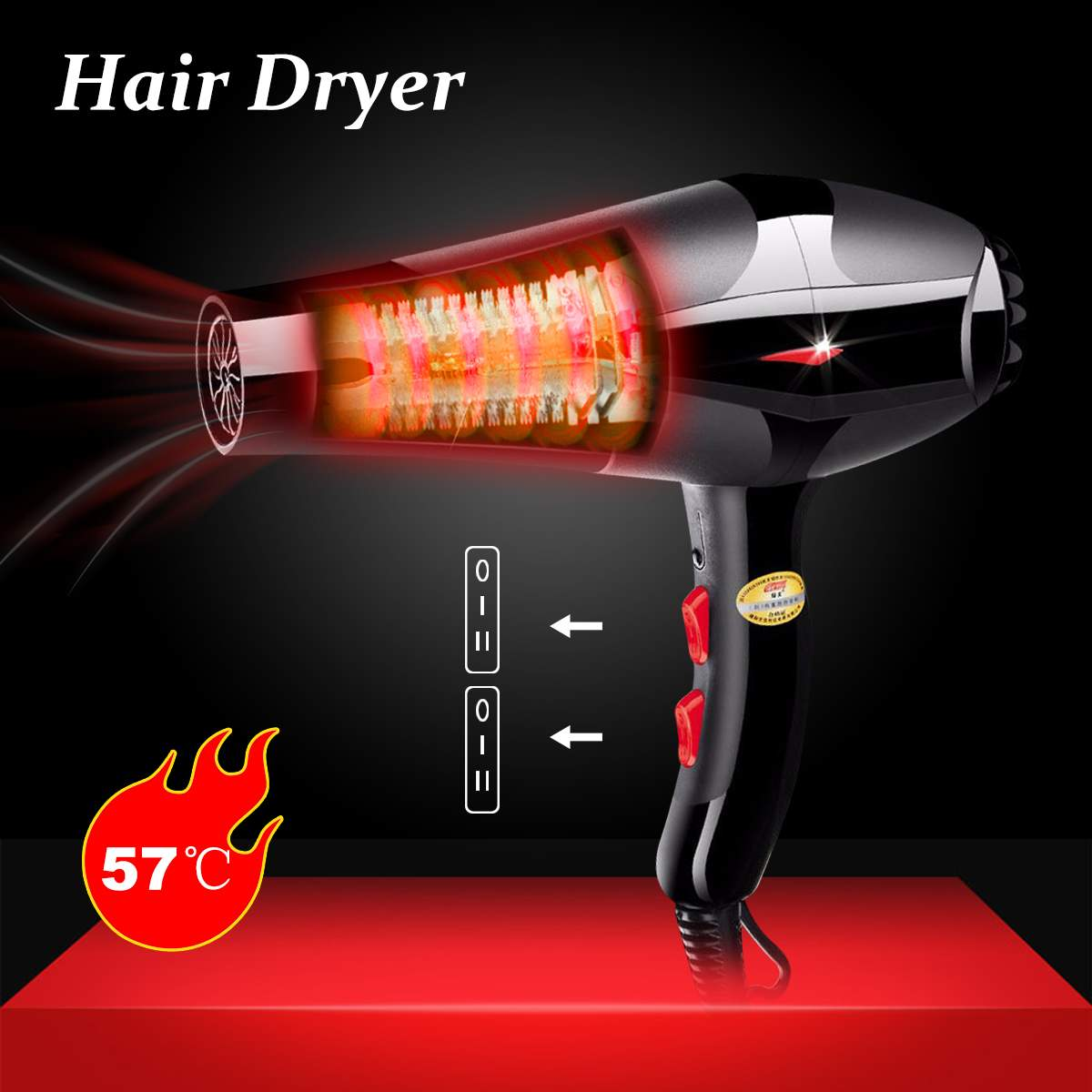Professional Electric Blow Hair Dryer 2400W Fast Heating Energy saving 2 Speed Efficient EU Plug Constant Tempreture Strong Wind|Hair Dryers| |  - title=