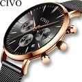 CIVO Top Marke Luxus Mens Fashion Uhren Business Chronograph Quarzuhr Uhr Männer Wateproof Handgelenk Uhren Relogio Masculino-in Quarz-Uhren aus Uhren bei