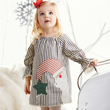 Girls Dresses Fall Winter 2019 New Christmas Stripe Dress Cotton Long Sleeve Striped Baby Girl Clothes 2-6 years 2018 autume fall winter hot sale baby girls boutique wine burgundy floral light stripe dress children clothes milk silk cotton
