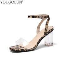 Women Ankle Strap Sandals Sexy Open Toe Square Heel Plastic Sandal Buckle Strap Womans High Heels Black Apricot Party Shoes C117