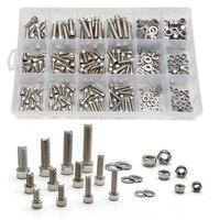 345PCS M5/M6/M8 Stainless Steel Cylinder Round Head Hexagon Screw Locknut Nut Bolt Washer Assortment Kit