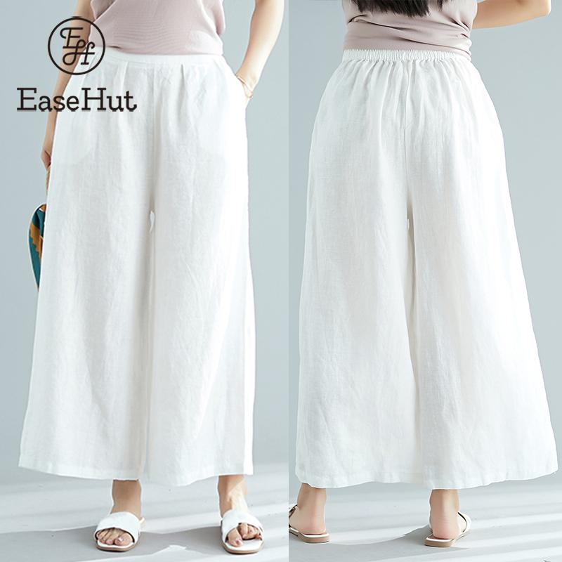 EaseHut Plus Size   Wide     Leg     Pants   Women 2019 Summer Elastic Waist Pockets Casual Loose Cotton Linen Long Trousers pantalon femme