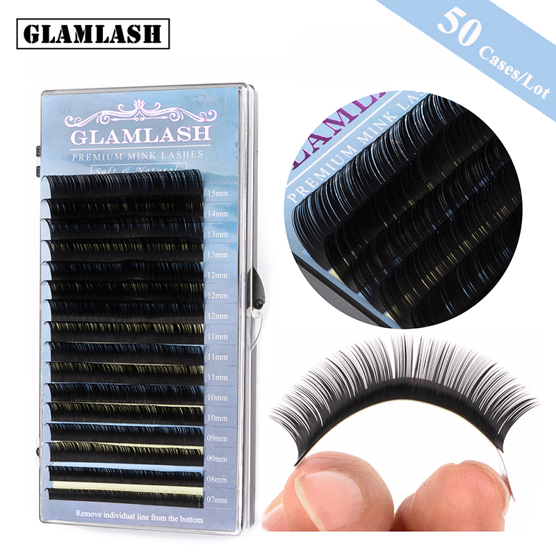 GLAMLASH 50 Cases Lot 16rows 7 15mm mix individual false eyelashes natural soft faux mink eye