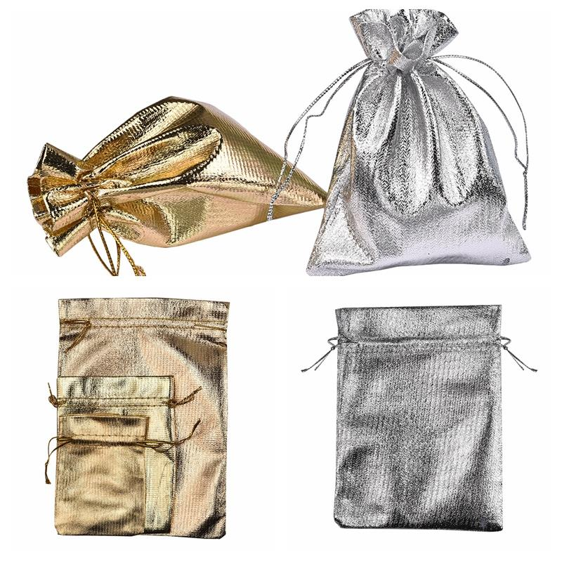 10Pcs/Lot 7x9 9x12 13x18cm Shining Jewelry Bag Packing Organza Bags Decoration Drawable Bags Gift Pouches Silver Gold