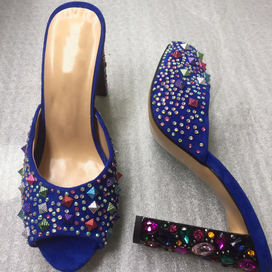 2019 Summer New Studed Womens Shoes Colorful Rhinestone Heel Slides Plus Size Dress Shoes Blue2019 Summer New Studed Womens Shoes Colorful Rhinestone Heel Slides Plus Size Dress Shoes Blue