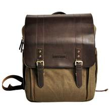 Large Capacity SLR Camera Backpack Photography Solid Buckle Canvas Bag Brown Khaki 1, 2(China)