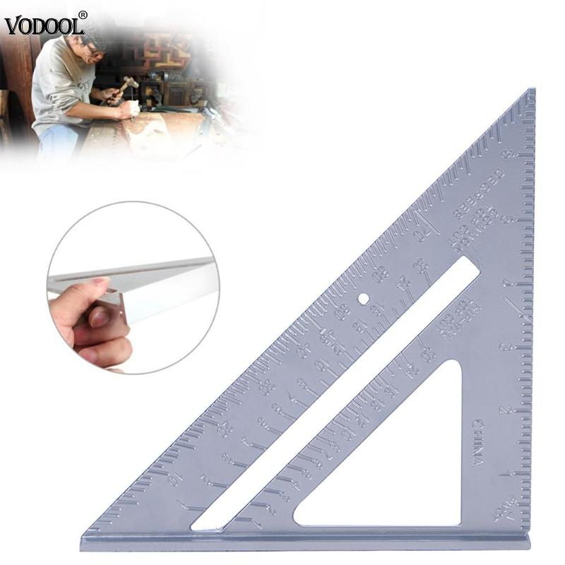 7 Inch Aluminum Alloy Measuring Ruler Speed Square Roofing Triangle Angle Protractor Trammel Square Carpenter Measuring Tools