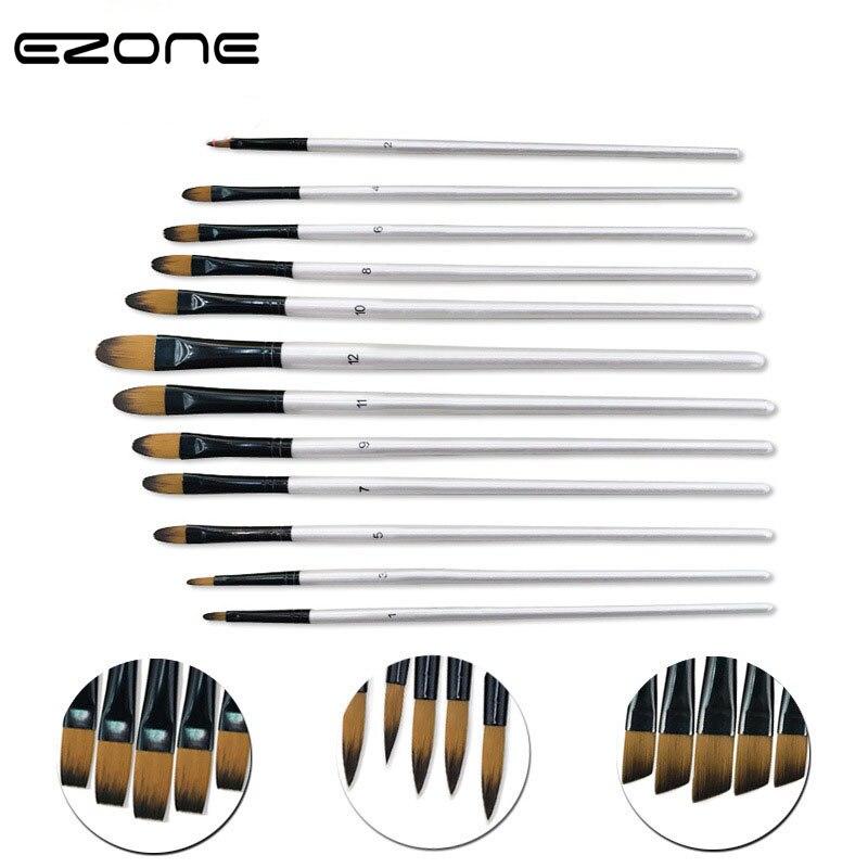 EZONE 12PCS Oil Painting Brushes Differernt Size Flat/Diagonal/Tip/Circular Peak Painting Brush Art Student School Office Supply