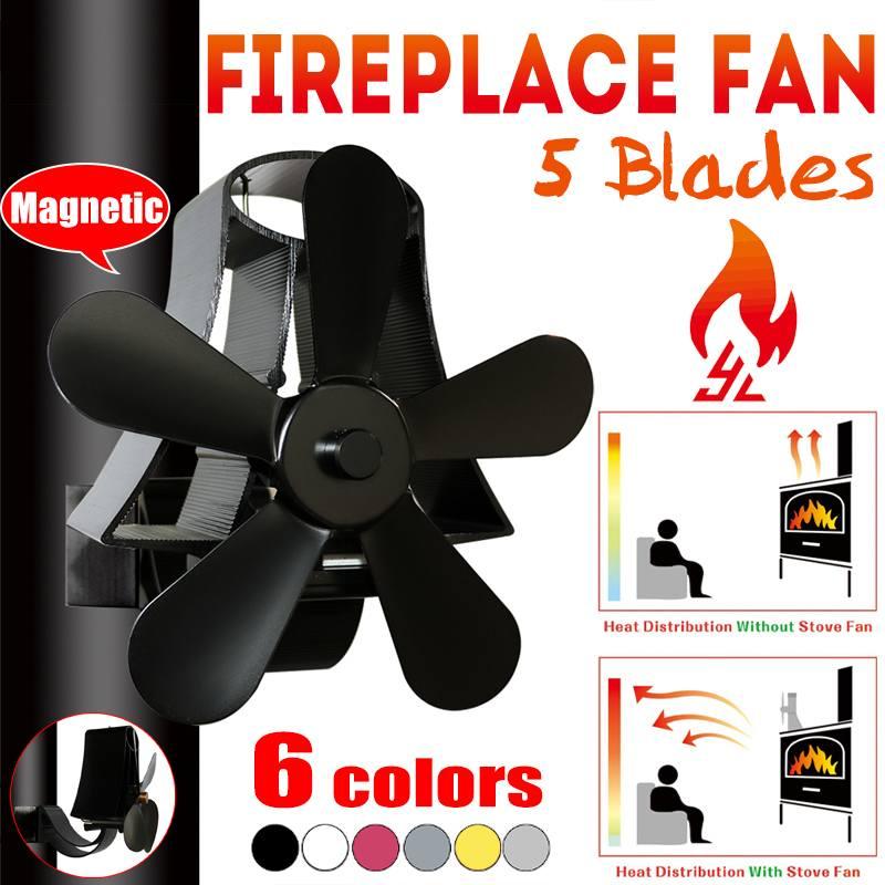 Wall Mounte 5 Blade Heat Fireplace Fan Stove Fan Powered Stove Fan Komin Wood Burner Eco Friendly Quiet Fan Heat Distribution