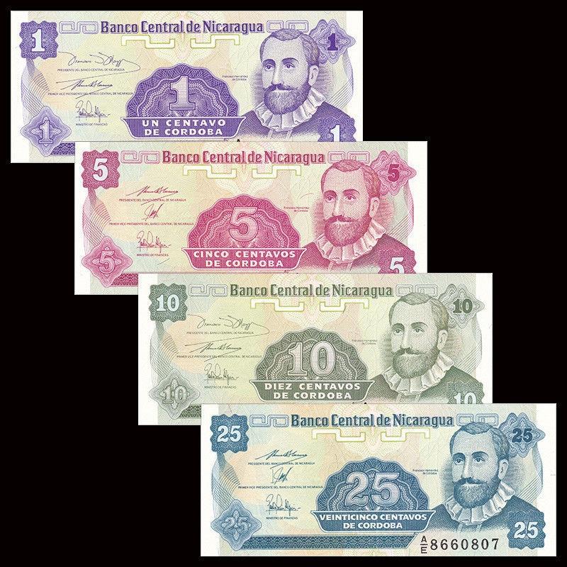 Nicaragua Set 4PCS, (1 5 10 25) Cordobas, P167-170, 1991, UNC, America,  Gift,  Original