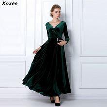 Autumn Winter Dress Women 2018 Casual Vintage Velvet Long Sleeve Plus Size 3XL Elegant Sexy Party ukraine Xnxee