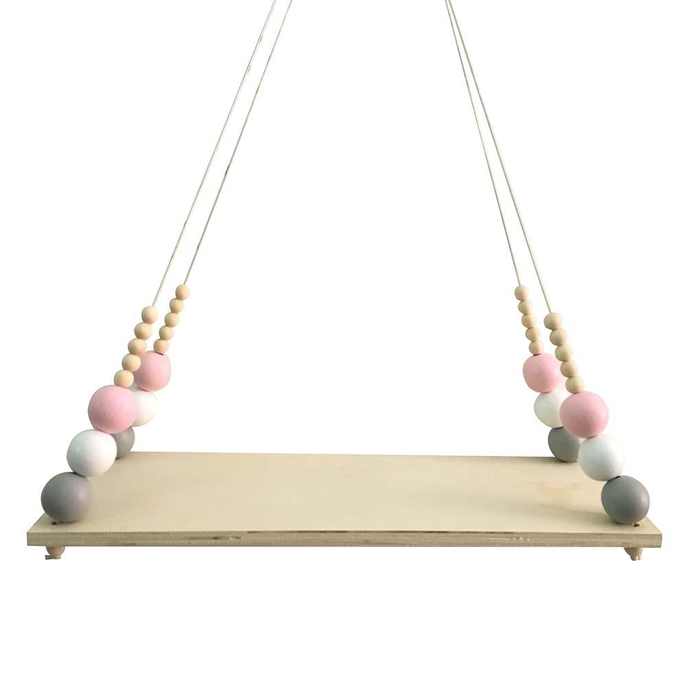 Buy Home Wall Hanging Wooden Ornaments Nordic Beads Board Hanging Storage Shelf Kids Room Nursery Home Wall Decor for only 9.41 USD
