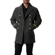 England Style Fashion Men Long Woolen Coat Casual Turn Down Collar Mens Jacket Double Breasted Cashmere